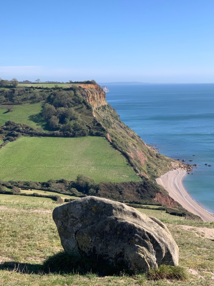 Seeing the Frog Stone and Salcombe Mouth Beach from Salcombe Hill filled me with awe