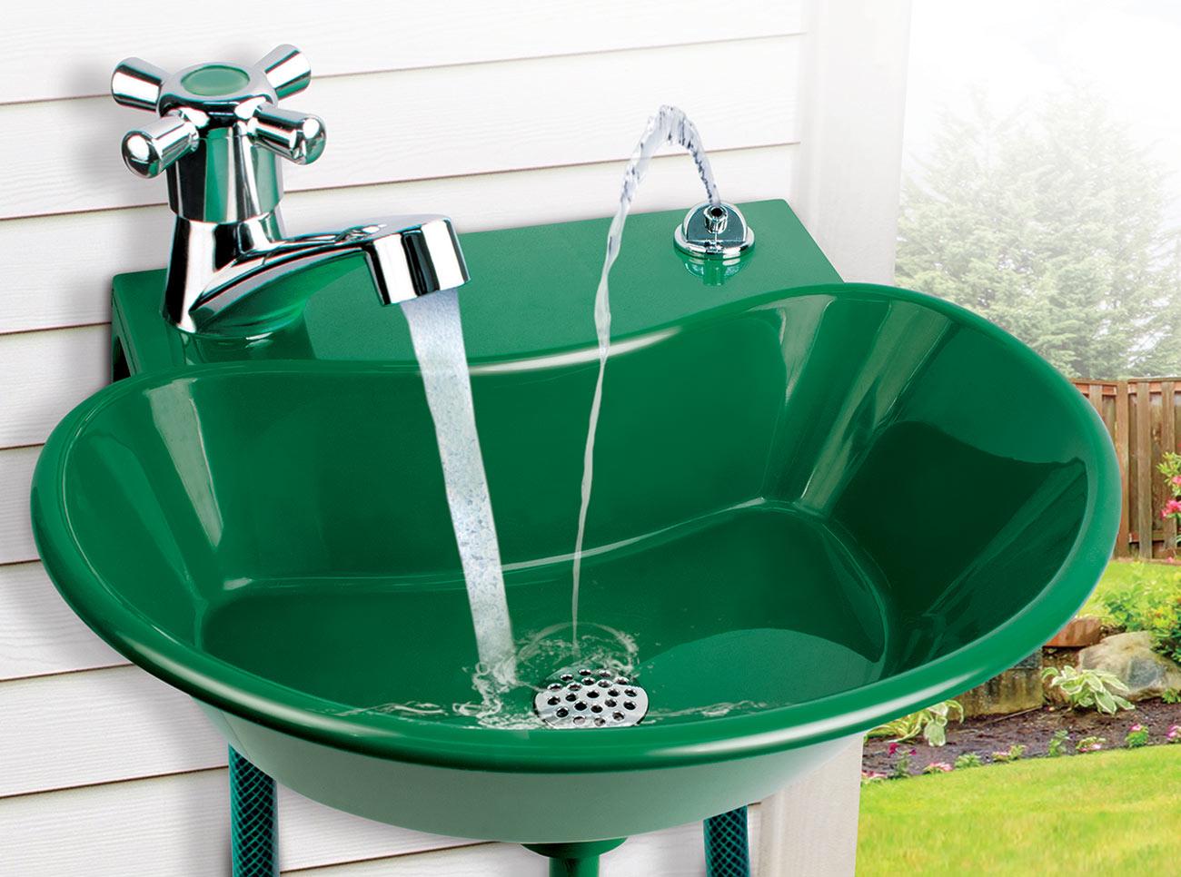 Outdoor Sink Drain Ideas Garden Kitchen Cabinet Diy Utility Concrete Rustic Camping Drinking Gear Expocafeperu Com