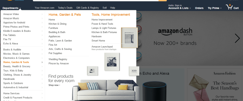 amazon homepage departments