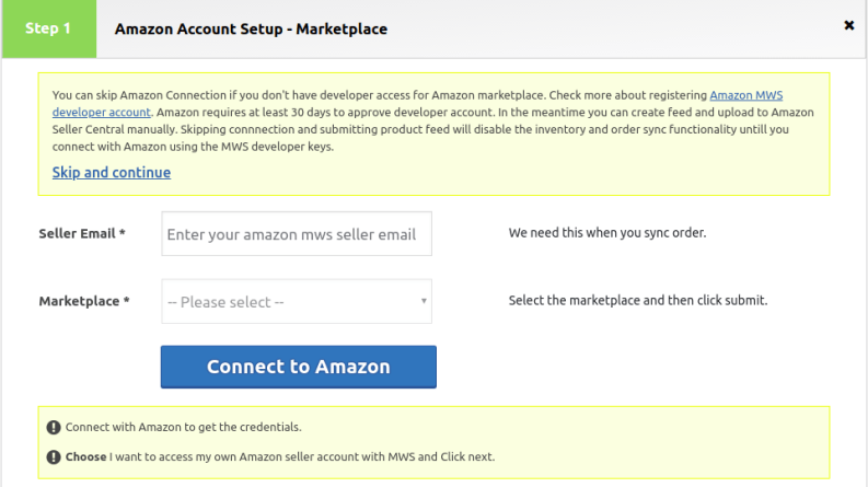 amazon connection or skip to create feed