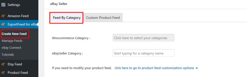 create new eBay feed