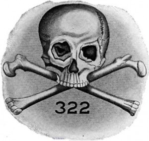 The logo of the Skull and Bones consists of a skull and crossbones, along with the number 322. According to one theory, 322 symbolises the year the society was founded (1832) and indicates that it is the second chapter of a German secret society, supposedly the Bavarian Illuminati. It more likely records the date of Demosthenes' death.