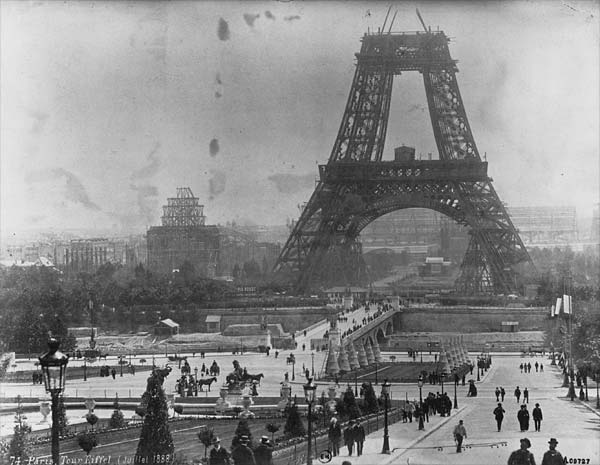 Construction of the Eiffel tower in July, 1888