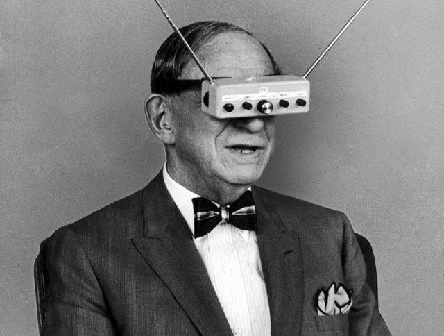 Inventor Hugo Gernsback is demonstrating his television goggles in 1963