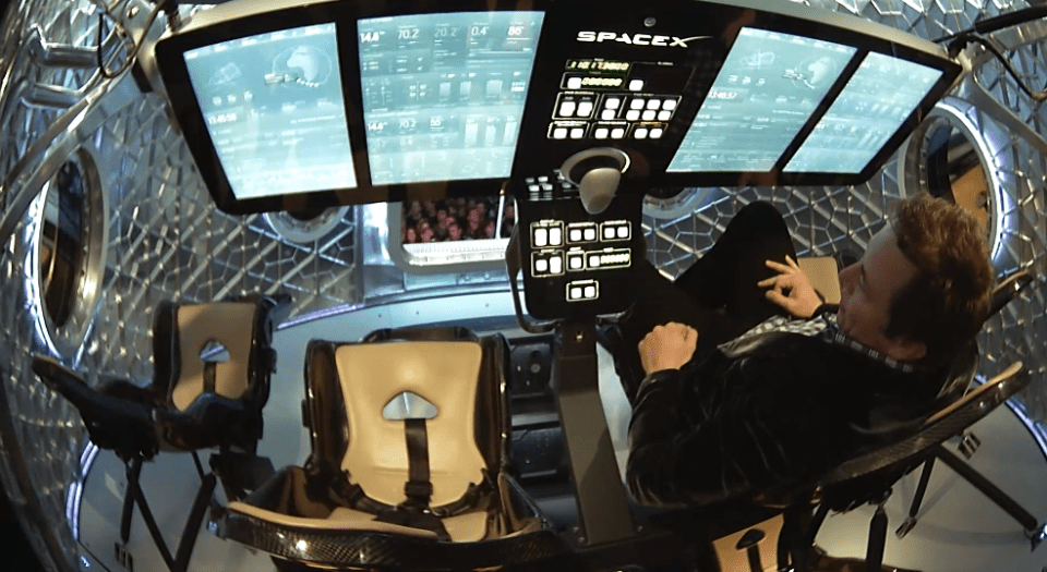 Elon Musk shows us the control panel of SpaceX's new Dragon V2 spaceship.