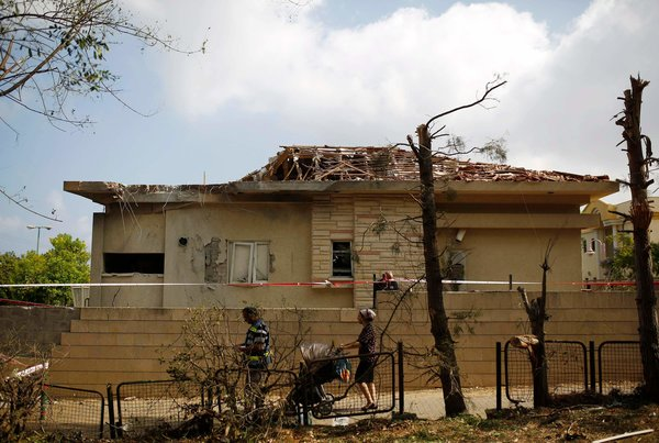A house in Ashkelon, Israel, was struck by a rocket from Gaza. Amir Cohen/Reuters