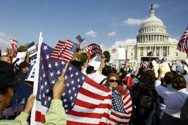 Image: File photo of Latin American demonstrators protesting during an immigration reform rally in front of the U.S. Capitol in Washington