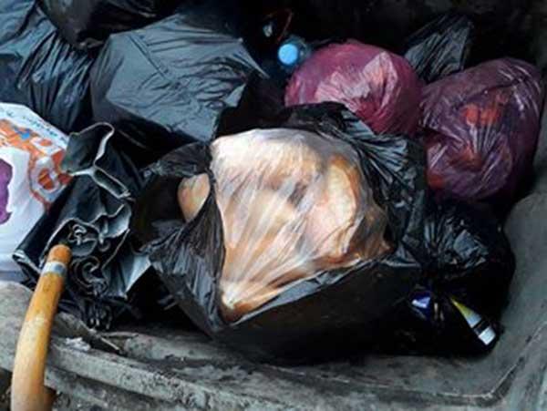 pain dans les poubelles