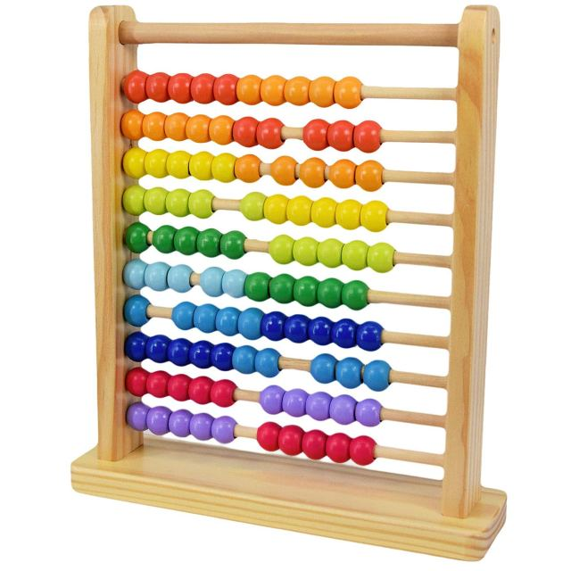 A picture containing object, abacus, table, wooden  Description automatically generated