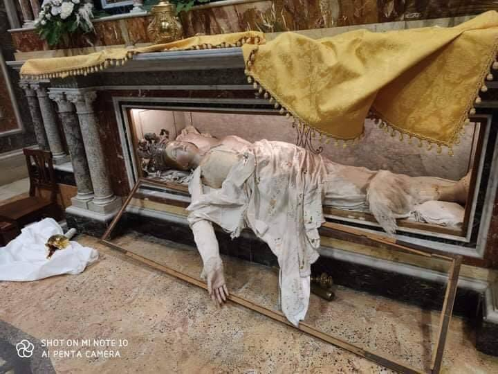 body of st Agatha desecrated