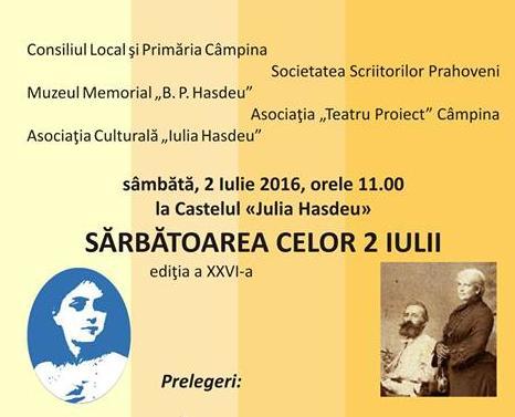 """Programul evenimentului """"Sarbatoarea celor 2 Iulii"""", ediția a XXVI-a"""