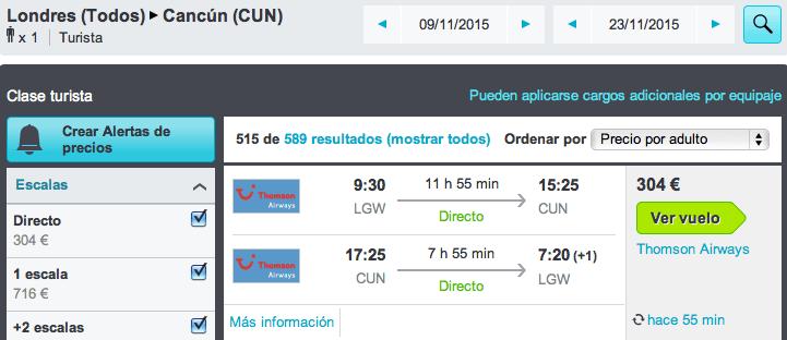 Vuelos baratos Londres - Cancún 304 euros