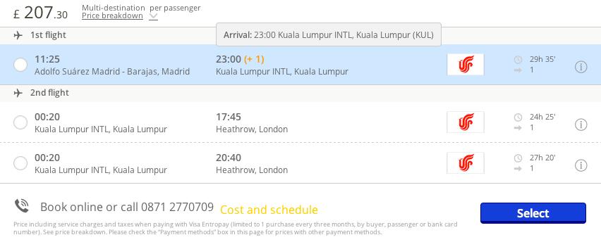 vuelos baratos Madrid Kuala Lumpur 286 euros