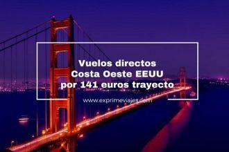 costa oeste eeuu vuelos directos 141 euros trayecto