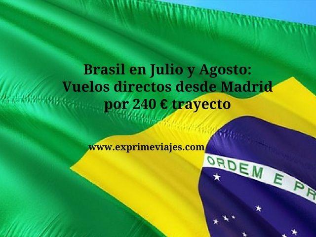BRASIL JULIO Y AGOSTO: VUELOS DIRECTOS DESDE MADRID 240EUROS TRAYECTO