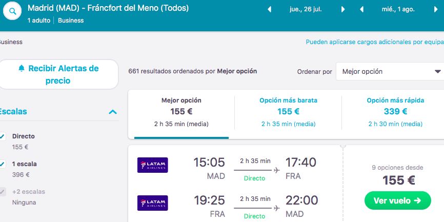 vuelos en business de madrid a frankfurt 77 euros