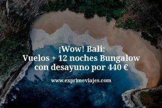 Wow Bali Vuelos mas 12 noches Bungalow con desayuno por 440 euros