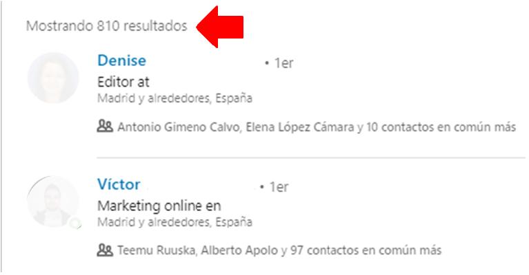 Linkedin gestión contactos - el filtro contacto de 4