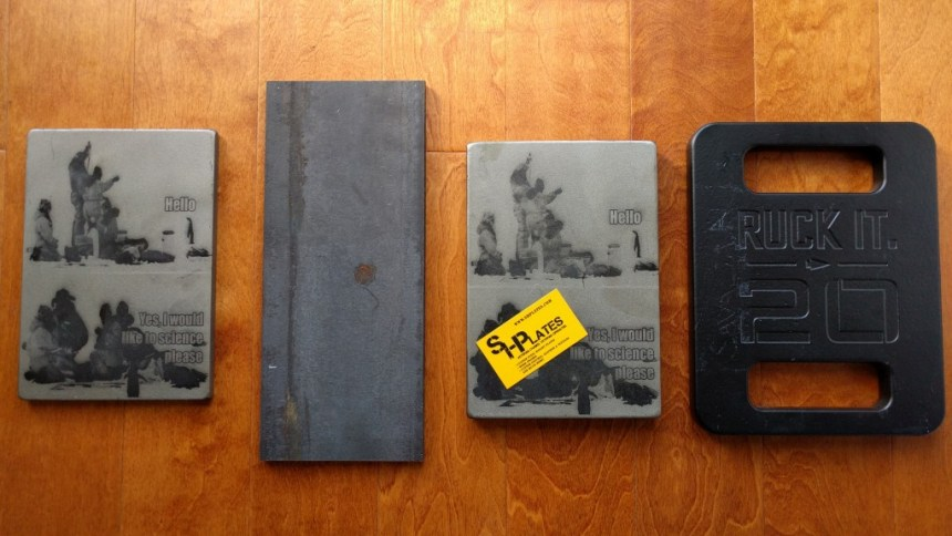Ruck plates comparison between SHplates, online-metal plate, and Goruck