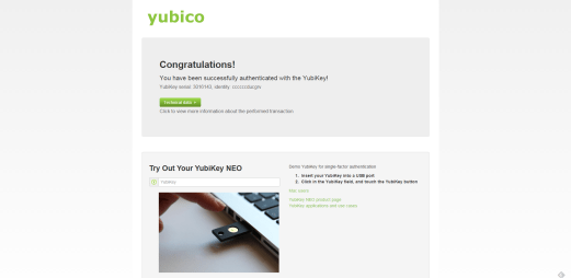 Yubikey demo Congratulations