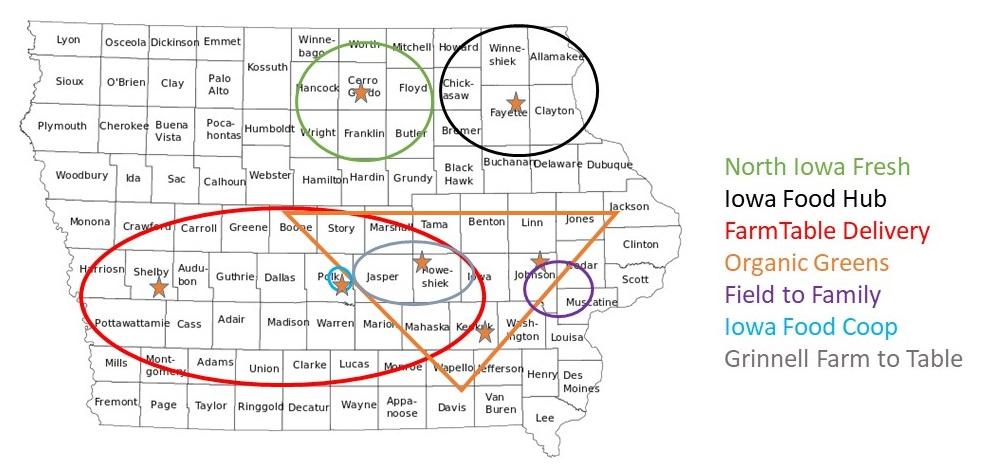 Map of Iowa food hubs.