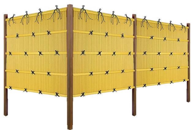 人工竹 組立セット「縦みす垣P1型柱見せタイプ(イエロー竹木目調角柱)」