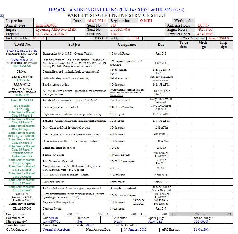 Service-sheet