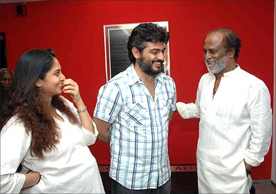 Rajini watches Billa with Ajith and Shalani