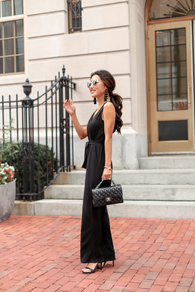 Black Jumpsuit Petite Wedding Guest Outfit