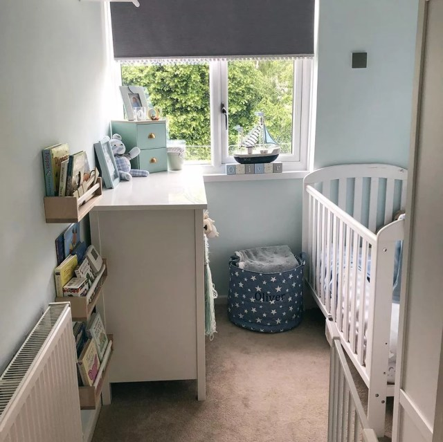 Small baby nursery with crib and dresser. Photo by Instagram user @life.with.the.lakes