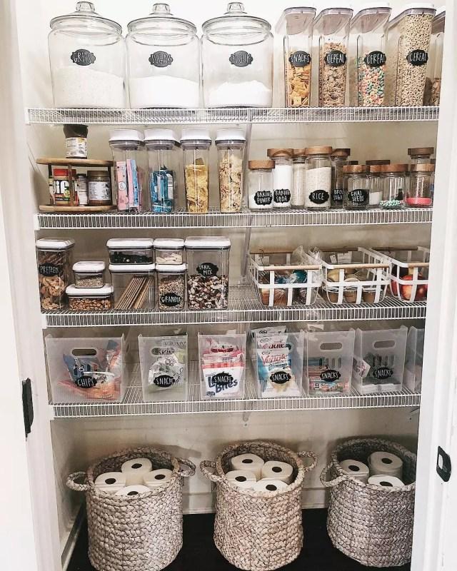 Organized pantry closet. Photo by Instagram user @shegaveitago