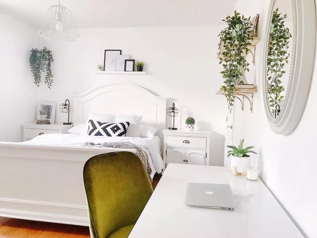 Young woman's bedroom with all white styling. Photo by Instagram user @my_passion_for_decor
