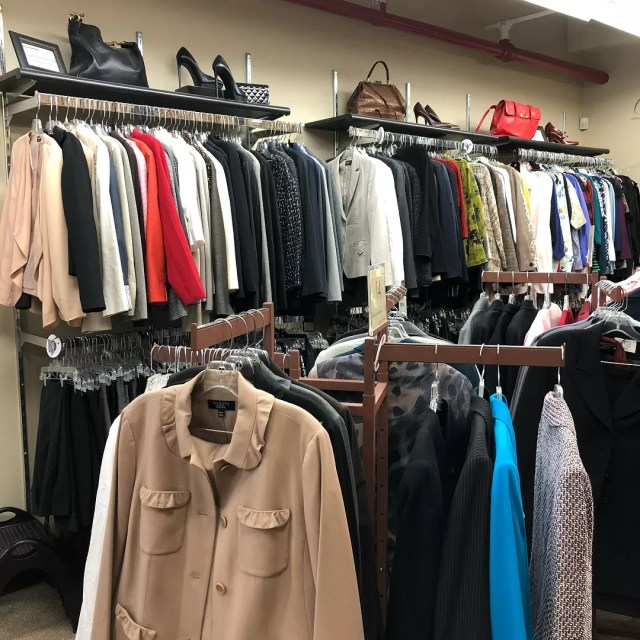 Racks and Shelves with Donated Clothes for Homeless People to Choose From. Photo by Instagram user @dressforsuccess