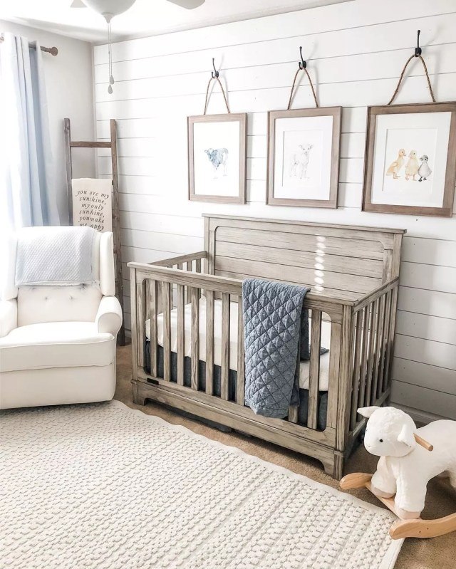 Farmhouse rustic-style baby room. Photo by Instagram user @ashley.l.thompson