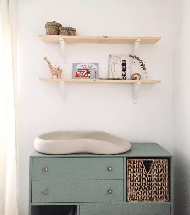 Changing station on dresser. Photo by Instagram user Changing Station on Dresser