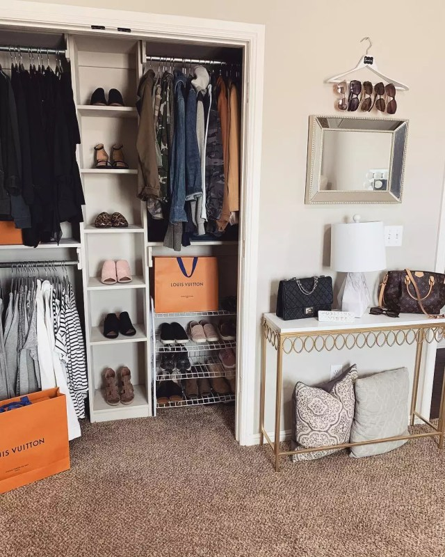 Exposed closet in bedroom. Photo by Instagram @tilvacuumdouspart