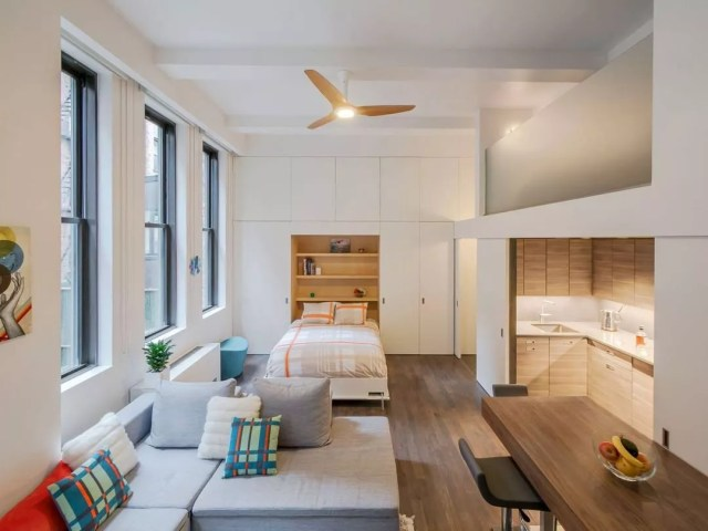 Small apartment with Murphy bed. Photo by Instagram user @studiogarneau