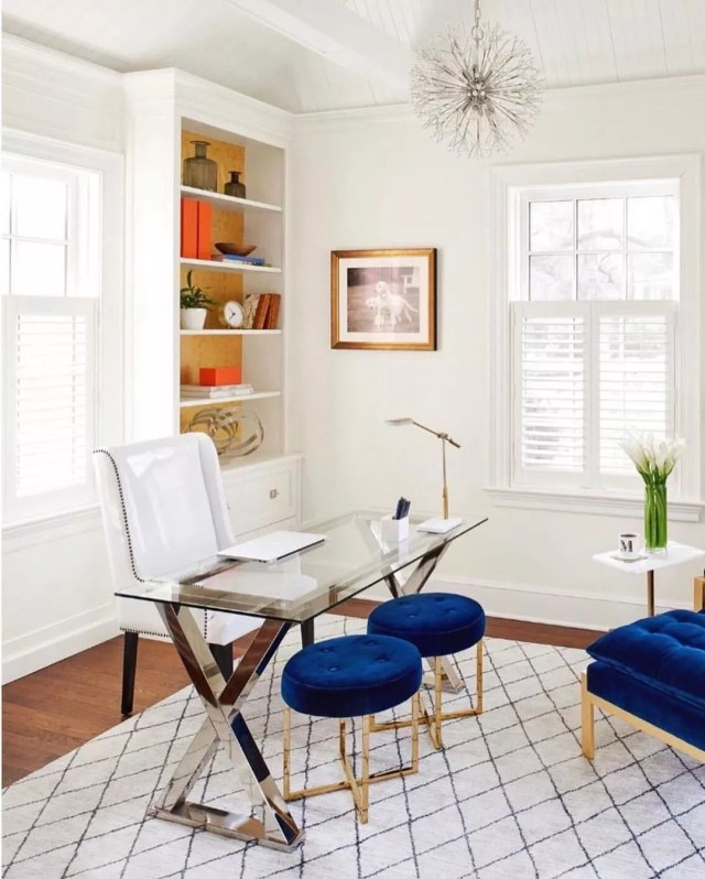 Staging home office in bonus room. Photo by Instagram user @compass_modern