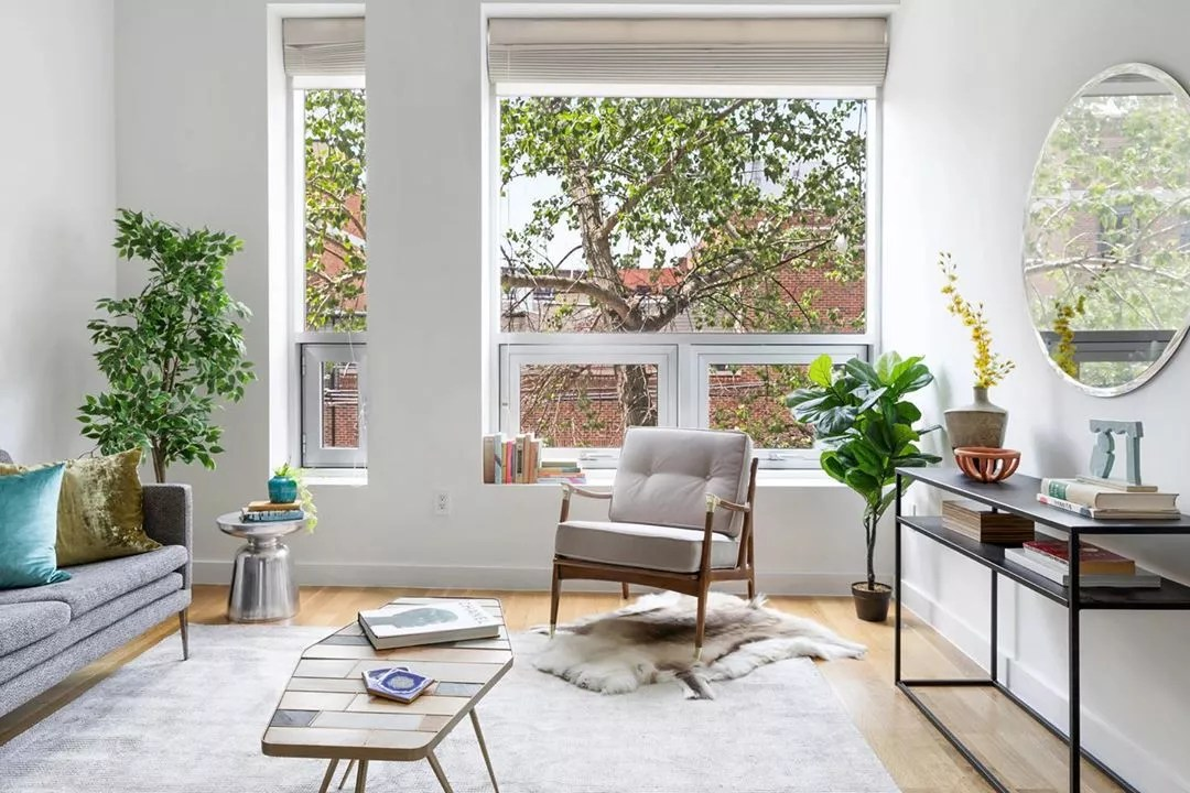 Staged living room. Photo by Instagram user @greenhouse_nyc