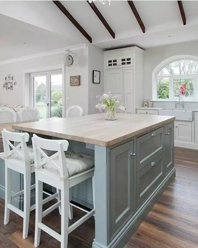 White contemporary kitchen with light blue cabinets. Photo by Instagram user @coolminedecor