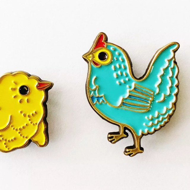 Small Pins of Chicks and Chickens. Photo by Instagram user @boygirlparty