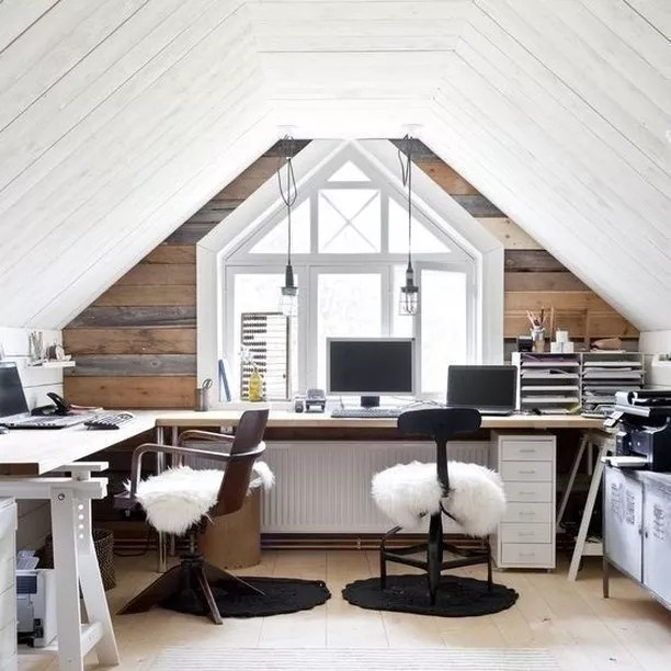 Home office set up in attic. Photo by Instagram user @marquisestatesltd