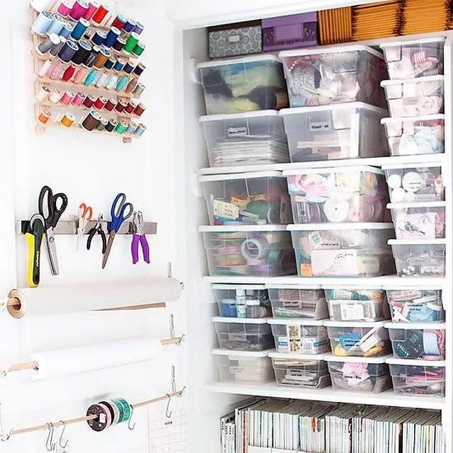 Home office organization utilizing closet storage for crafts. Photo by Instagram user @julielauren14