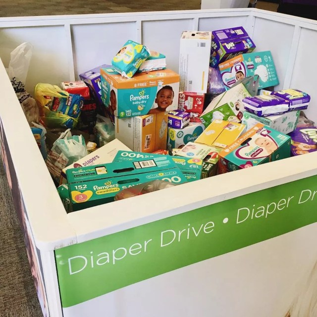 Donation bin with baby diapers. Photo by Instagram user @olivebaptist