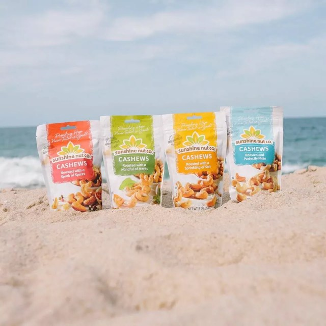 Bags of cashews on the beach. Photo by Instagram user @sunshinenutco