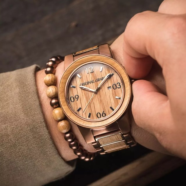 Guy wearing wood watch. Photo by Instagram user @originalgrain