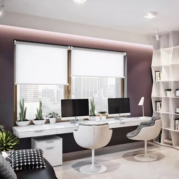 small home office with stylish chairs and purple walls photo by Instagram user @seatandhutch