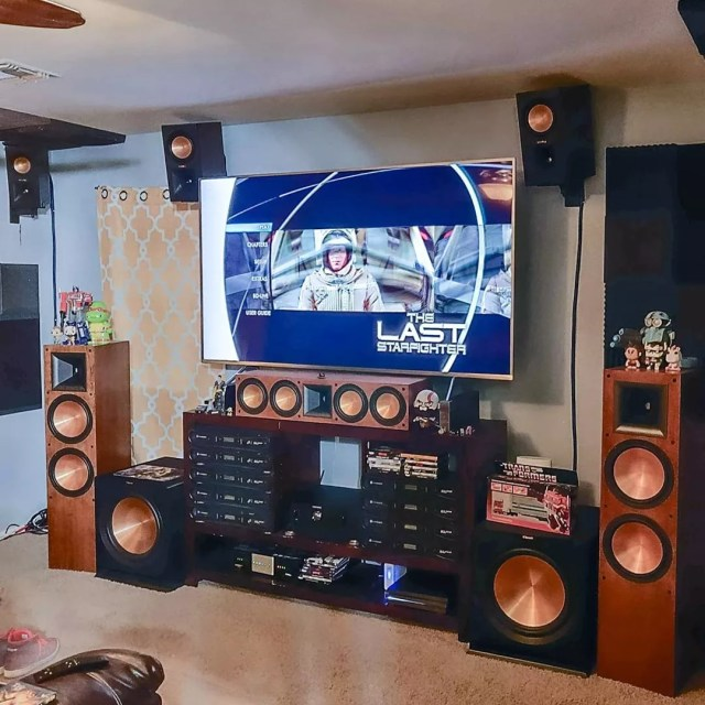 large copper surround sound speakers in home theater photo by Instagram user @hifibrothers