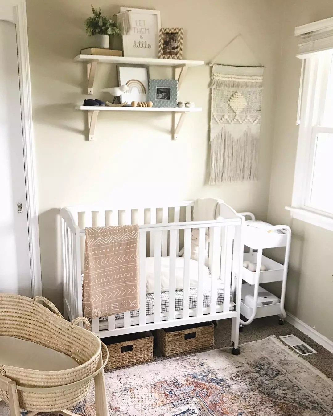 Small Crib in Childrens Room. Photo by Instagram user @amandalippeblog
