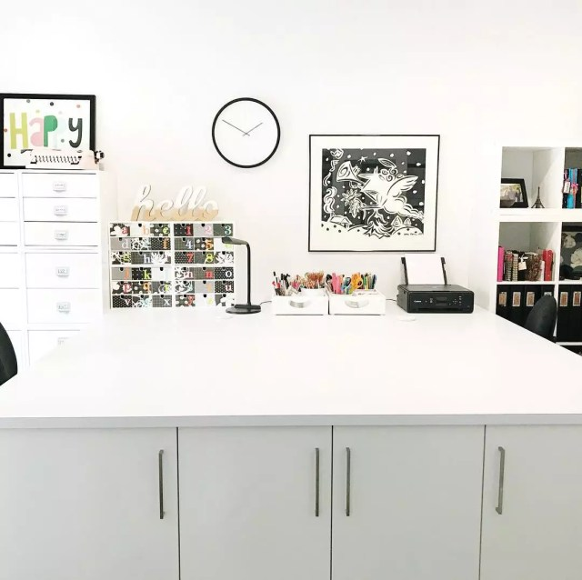 Spacious workstation in craft room. Photo by Instagram user @veronicamnorris